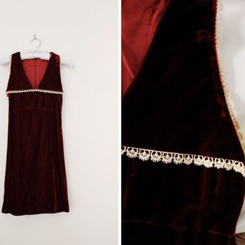Vintage Red Velvet Holiday Party Dress - Oxblood Merlot Burgundy Red A Line Dress - Size Small