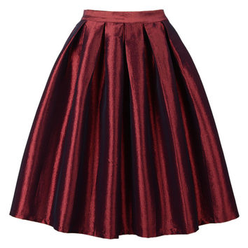 Wine Red High Waisted Skater Skirt