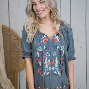 Pipa Embroidered Top, Sage