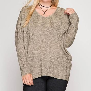 It's All About That Bling Baby Metallic Accent Sweater - Light Mocha