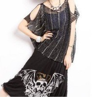Causal Hollowed Cutoff Shoulder Short Sleeves Wide Knitted Sweater Top 2 Colors
