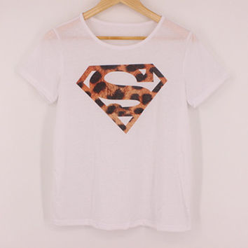 Summer Style Leopard Printed Superman Logo White T Shirt Fashion Women's Short Sleeve Lady Harajuku Style Hipster Tee Top