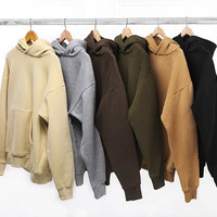 New Streetwear Pullovers Drake Kanye West Plain Khaki/Black Fleece Oversized Hoodie Kpop Clothes Tracksuit Hoodies Men Hip Hop