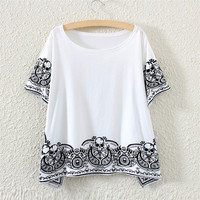 White Short Sleeve Skeleton Print Fringed T-Shirt