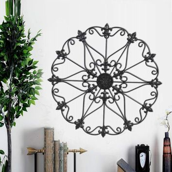 Benzara Metal Wall Medallion Decor With Fleur De Lis Design, Black