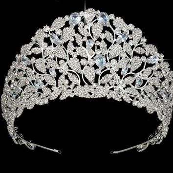 Crown Tiaras AAA Cubic Zirconia Pave Silver Gold