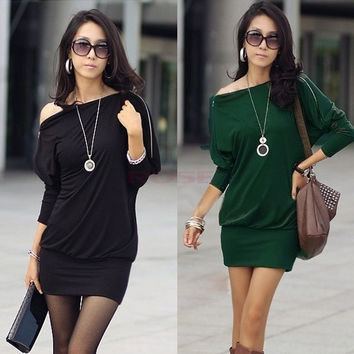 2 Colors Women Long sleeve Batwing Zip Shirt Off-Shoulder Skirts Tops Mini Dress 3492 Vestidos = 1946031876