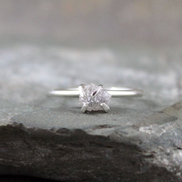 Raw Diamond Ring - Sterling Silver Stacking Ring - Engagement Ring - Uncut Rough Gem - Diamond in the Rough Ring - April Birthstone Ring