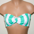 Mint and White Stripe Bandeau Top, Swimwear Bikini Top, Twisted Top Bathing Suits, Spandex Bandeau Bikini