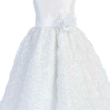 Shantung Girls Communion Dress w. Floral Ribbon Skirt 6-14
