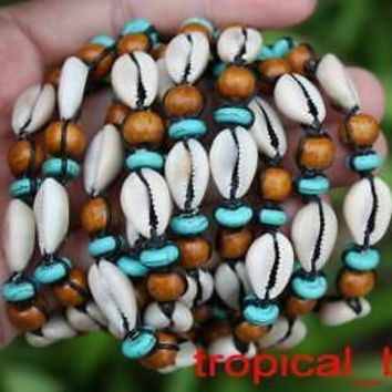 Cowrie Shell and Wood Bead Slipknotted Bracelet