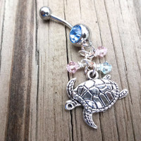 Sea Turtle and Swarovski Crystals Surgical Steel Aquamarine Belly Button Ring, Beach Body Jewelry