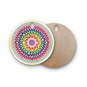 "Famenxt ""Colorful Vibrant Mandala"" Rainbow Geometric Round Wooden Cutting Board"