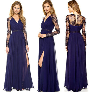 Stylish Lady Women's Lace Sleeve Full Length Side Split Dress Sexy Dress F_F = 1904647172