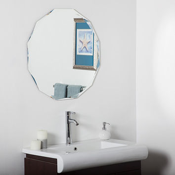Decor Wonderland SSM8002R Round Diamond Beveled Frameless Wall Mirror