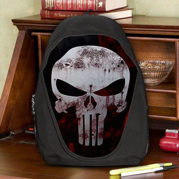 Punisher Force Reconnaissance Code Red Teen Kids Canvas School Backpack Bag Rucksack