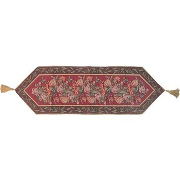 Romantic Floral Field of Roses Burgundy Red Brown Hand-Crafted Decorative Woven Place Mat Table Runners Cloths (5594)