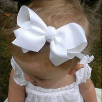 Baby Girls Big Bow Headband Infant Bebe Hair Accessories Elastic Hair Bands Bow Small Child Girls Headbands 1pc