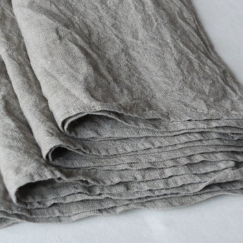 Linen hand towel dish towel kitchen towel set of 4 prewashed gray wrinkled flax burlap vintage look eco friendly gift
