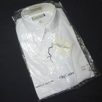 1990s Vintage Oleg Cassini White Dress Shirt, New in Package, Size 16 L, 32/33, Cotton Poly Blend, Single Needle Tailoring, Vintage Clothing
