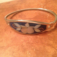 Vintage Mexican Bracelet Alpaca Silver Blue Mother of Pearl Inlay Mexico Jewelry