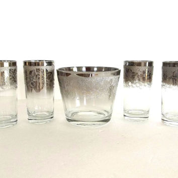 5pc Vintage Mid Century Silver Ombre Etched Ice Bucket Tumblers set, Royal Luster highball glasses ice server, barware bar ware drink ware