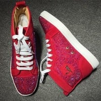 Christian Louboutin CL Rhinestone Style #1951 Sneakers Fashion Shoes Best Deal Online