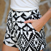 Electric Slide Shorts: Black/White | Hope's