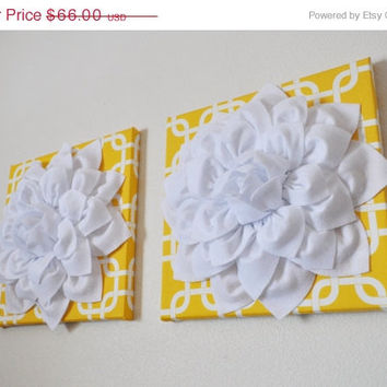 "MOTHERS DAY SALE Two Flower Hangings -White Dahlias on Yellow Gotcha Print - 12 x12"" Canvases Wall Art- Geometric Wall Decor-"