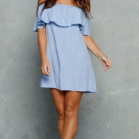 hot off shoulder blue dress