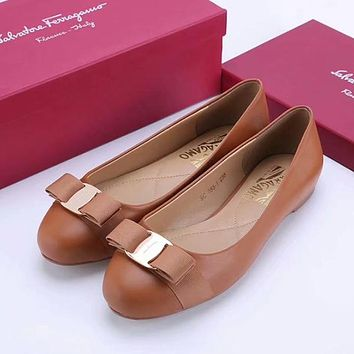 Ferragamo Bow Women Fashion Leather Flats Shoes