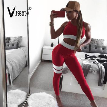 18f03f870e65d6 Women's Fitness Suits Cropped Tank Workout Bra Top And Legging Pants 2  Pieces Set Fashion Female