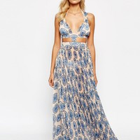 ASOS Circle Tile Print Pleated Beach Maxi at asos.com