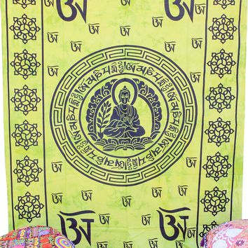 Hand printed Buddha Om Tapestries Wall Hanging or Bedsheet