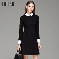 FATIKA Fashion Autumn Winter Women's Elegant Casual Dress Slim Peter pan Collar Collar Long Sleeve Black Dresses for Women