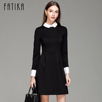 FATIKA Fashion Winter Women's Elegant Casual Dress Slim Peter pan Collar Collar Long Sleeve Black Dresses for Women