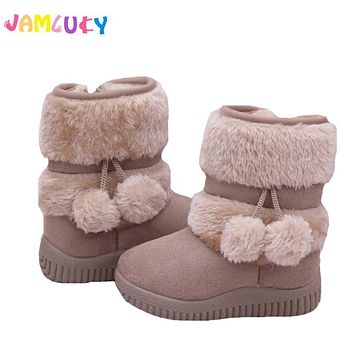 Winter Children Boots Unisex Warm Shoes Girl Cotton-Padded Suede Zip Mid-Calf Snow Boots Boy Candy Color Boots Kids Winter Shoes