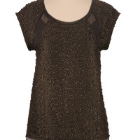 Gold-colored high-low Textured shimmer chiffon Top