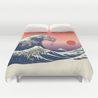 The Great Wave of Pug   Duvet Cover by Huebucket