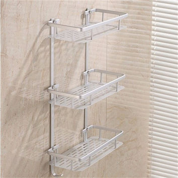 3 Layers Aluminium Bathroom Shower Rack Hanging Cosmetic Make Up Storage Soap Kitchen Shelf  Accessories Holder Optional