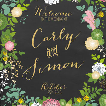Floral Wedding Welcome Sign .  Chalkboard Calligraphy & Gold .  Blush Dahlias Peonies Succulents . Custom flowers Personalized Poster . PDF