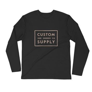 Custom Supply Latte Long Sleeve Fitted Crew