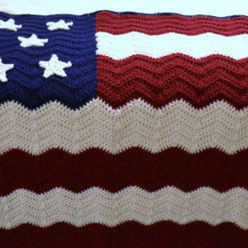 Crochet Afghan Blanket American Flag Red White Blue Patriotic Ripple Chevron Handmade Littlestsister