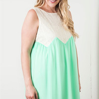 Sleeveless Shift Dress - Mint - Curvy