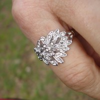 Silver filigree ring, crystal ring, fashion ring, Size 9, womens ring,leaf ring