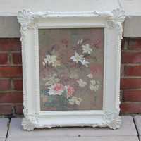 Shabby chic white ornate frame with flower butterfly art