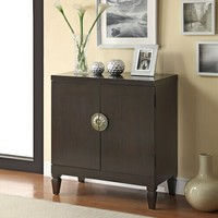 Espresso finish wood hall console entry table cabinet with 2 door lower storage area