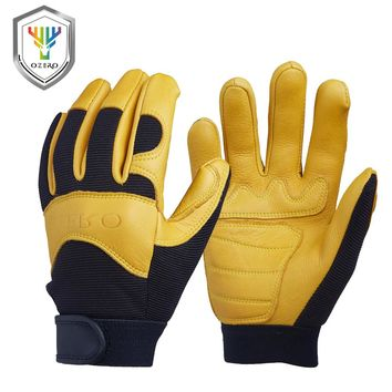 New Deerskin Men's Work Driver Gloves Leather Security Protection Wear Safety Workers Working Racing Moto Gloves For Men 8003