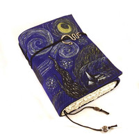 Starry Night, Leather Journal, Leather Notebook, Diary