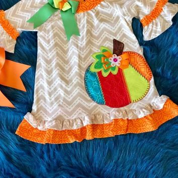 Rare Editions Counting Daisy Colorful Thanksgiving Pumpkin Dress